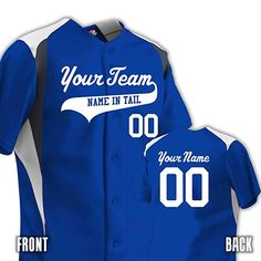 10dbb2f3ba Design online this Custom Baseball Jersey with 3 Colors. Personalized with  your Team Name, Player Name and Player Numbers