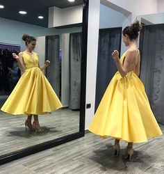 Criss Cross Yellow Ankle Length Prom Dresses P1547