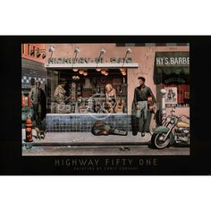 Another painting by Chris Consani. James Dean rounds the corner, Humphrey Bogart and Marilyn Monroe are in the diner, and Elvis Presley leans against the wall with his guitar.
