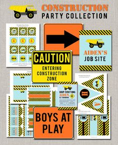 DIY Construction Birthday Party Collection includes:    1. Custom Invitation (also available with a photo)  2. Happy Birthday Banner 3. Thanks for