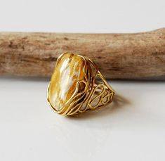 Beautiful Color Of Amber, White-Yellow Amber Ring, Amber And Gold Plated Sterling Silver Ring, Amber Jewelry,Gift For Her, Yellow Amber Ring