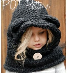 Knitting PATTERN-The Burton Bear Cowl (6/9 month - 12/18 month - Toddler - Child - Adult sizes)