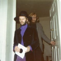 Circa August 1969. Ringo with Mal Evans holding a Abbey Road demo.