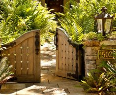 Entrance walk gates, Tudor mansion, Monte Sereno, California