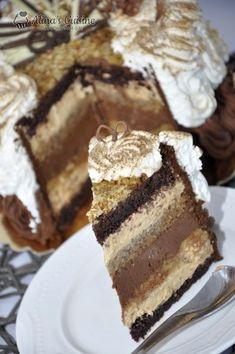 Tort cu crema caramel si crema de ciocolata cu cafea — Alina's Cuisine Sweets Recipes, Cake Recipes, Romanian Desserts, Torte Recepti, Fancy Desserts, Fun Cooking, Something Sweet, No Bake Cake, Creme Caramel