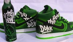 Throwback Thrusday: Nike Dunk Mountain Dew Custom Shoes by DEZ Custom Painted Shoes, Custom Shoes, Best Soda, Nike Shoes For Sale, Bling Shoes, Fresh Shoes, Mountain Dew, Discount Nikes, Lv Handbags