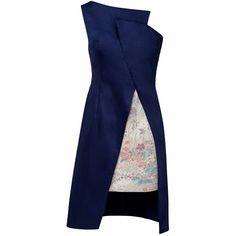 Lemiché - One Shoulder Asymmetric Dress ($575) ❤ liked on Polyvore featuring dresses, one shoulder cocktail dress, floral print kimono, evening dresses, long floral dresses and floral kimono