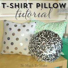 T-Shirt Pillow Tutorial; Re-purpose t-shirts into trendy new pillows! Tutorial includes how to measure and cut a round or square pillow cover & install a zipper.