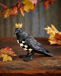 Shop Crowned Crow Figure from MacKenzie-Childs at Horchow, where you'll find new lower shipping on hundreds of home furnishings and gifts. Fall Halloween, Halloween Crafts, Halloween Decorations, Holiday Crafts, Mackenzie Childs Inspired, Mckenzie And Childs, Raven Art, Jackdaw, Crows Ravens