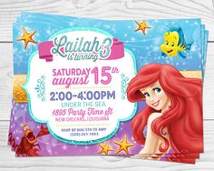 The Little Mermaid - Princess Party Invitation - 4x6 or 5x7 Inch - YOU PRINT