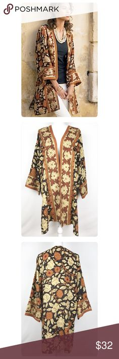 """Soft Surroundings Autumn Floral Kimono Topper Soft Surroundings autumn floral kimono style topper in 100% rayon. Gently pre-owned, no flaws. Size Small Underarm to underarm, across the back: 25.5"""" Length, shoulder to bottom hem: 33.5"""" Inventory M25 Soft Surroundings Tops"""