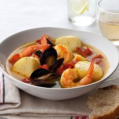 Fragrant and nutty, cumin flavors this Moroccan-inspired stew that features the seafood trio of shrimp, scallops and mussels.