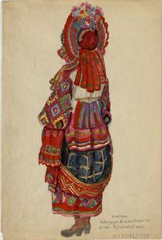 Рисунок Работновой И.П. с изображением женского костюма.Тульская область..Экспедиционный материал