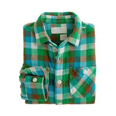 Boys' vintage camp flannel shirt in buffalo check