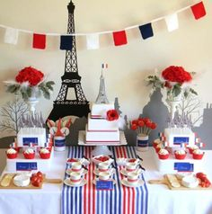 A Paris theme can be many different color combinations. The French flag is blue, white and red. :)