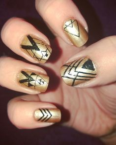 Black and gold aztec nails