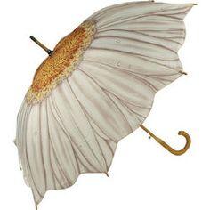 Galleria White Daisy Stick Umbrella