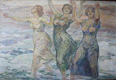"""Schad-Rossa, """"Drei Mädchen und das Meer"""", dat. 1915, Öl auf Leinwand, 85,8 x 126,3 cm, Privatbesitz Ansbach"""
