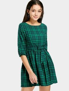 SHARE & Get it FREE | Checked Belted A Line Dress - Green MFor Fashion Lovers only:80,000+ Items • New Arrivals Daily Join Zaful: Get YOUR $50 NOW!