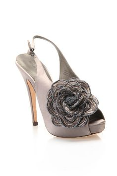 silvery flowered heels...Love these!