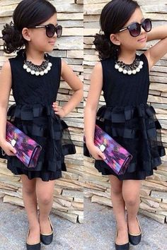 Stylish Sleeveless Round Neck Spliced Solid Color Dress For Girls Little Girl Outfits, Cute Outfits For Kids, Little Girl Fashion, Toddler Fashion, Boy Fashion, Girls Fashion Kids, Kids Fashion Dresses, Fashion Shoes, Fashion Tips