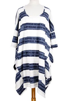 Rundholz Black Label printed, crisp stretch cotton, striped one-size dress in blueberry stripe. Short sleeves.