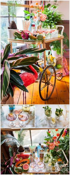 Tropical Themed Wedding Cocktail Drinks Trolley - pink flamingo - stripey straws - table top palm - papaya, watermelon, dragon fruit, chirimoya fruit platter - pink champagne with edible rose petals, pomegranate seeds, mint mojitos | Wedding styling Always Andri www.alwaysandri.co.uk | Frances Carlisle Photography www.francescarlisle.co.uk