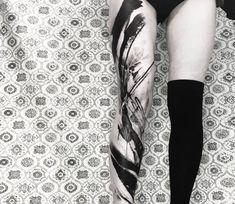 Leg sleeve, black abstract tattoo artwork done by tattoo artist Thomas Acid Leg Tattoos Women, Tattoos For Women Half Sleeve, Sleeve Tattoos, Large Tattoos, Black Tattoos, Cool Tattoos, Tattoo Images, Tattoo Photos, Bild Tattoos