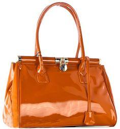 Elegantná a praktická kabelka značky David Jones vyrobená z lesklej ekokože. David Jones, Orange, Shopping