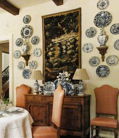 Beautiful use of plates on a wall.
