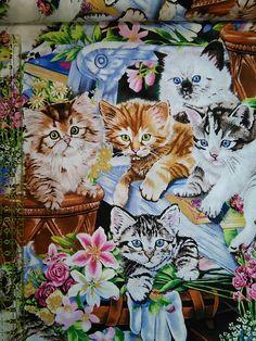 Tela de algodón Gatitos - 'Animal life' - de TelasAndDiy en Etsy