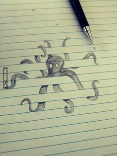 Awesome octopus!!! Climbing on paper