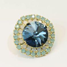 Navy Blue Mint Brooch Pin Green Opal Brooch Pin by TIMATIBO