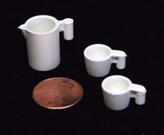 Playmobil Vintage Miniature Dollhouse White Pitcher w/ 2 Large Mugs Dishes #PLAYMOBIL