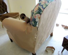 I bought this Hickory Chair Co. chair and ottoman at Goodwill for $35.   Shortly after that, I found 5 yards of $4/yard P. ...