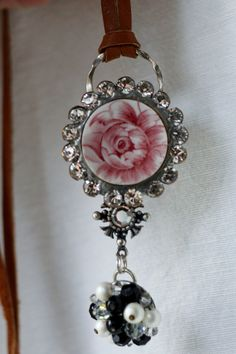Vintage upcycled earring china and rhinestone by lisabetzoriginals, $54.00