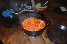 Beer, beef and bacon potjie ready to eat