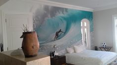 Kelly Cestari's wallpaper used as a feature wall in a room decorated by Ashleigh Gilmour Interiors. East London, Small Towns, Surfboard, Room Decor, Tapestry, Interiors, Wallpaper, Home, Hanging Tapestry