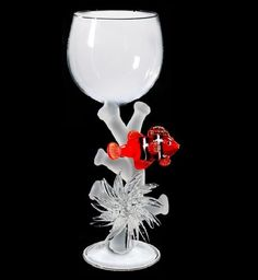 Red Coral fish Hand Blown Wine Glass