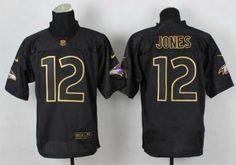 nike nfl baltimore ravens #12 jones black [Elite gold lettering fashion]