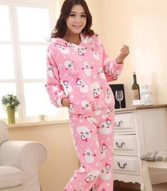 Free shipping hot sale 4 colours footed pajamas women/ladies night ...