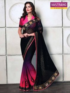 Black and Pink Embroidery Velvet and Satin saree with blouse