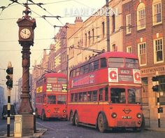 Double decker trolleybuses at the Jubilee clock, Harlesden, London Vintage London, Old London, London Transport, Public Transport, Routemaster, Buses And Trains, London Architecture, Double Decker Bus, London History