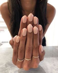 Nude Nails, Pink Nails, Peach Nails, Matte Nails, Peach Colored Nails, Pink Manicure, Hair And Nails, My Nails, Oval Nails