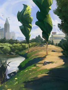 Environment Painting, Environment Design, Landscape Artwork, Fantasy Landscape, Design Visual, Creation Art, Cg Art, Visual Development, Environmental Art