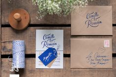 Faire-part mariage, bleu marine, doré, calligraphie, kraft, coupons