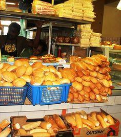 Fresh bread stall in Port Louis Mauritius