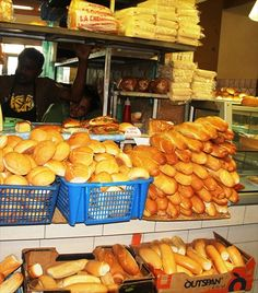 Fresh bread stall in Port Louis Mauritius