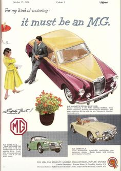 1956 MG Magnette and MGA car advert: ➧ #Casinos-of-Mayfair.com & #Hotels-of-Mayfair.com Casinos & Hotels For Sale & Required All Countries Worldwide.