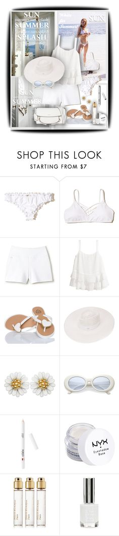 """White for Summer!"" by sarahguo ❤ liked on Polyvore featuring Ariella, Hollister Co., Lacoste, Maison Michel, NYX, Maison Francis Kurkdjian, Topshop, DKNY and PearlsandLace"